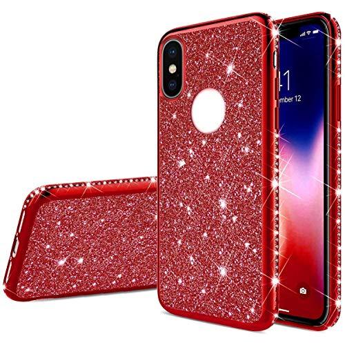 Herbests Kompatibel mit iPhone XS/iPhone XS Hülle Glitzer Mädchen Schuzhülle Kristall Bling Glitzer Strass Diamant Überzug Ultra Dünn Durchsichtige Transparent Silikon Handyhülle Tasche,Rot