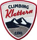2 x Klettern Abzeichen gestickt 55 x 60 mm/Climbing Bergsteigen Bouldern Klettersteig Fels Rock Indoor/Aufnäher Aufbügler Flicken Sticker Bügelbild Patch/Kletterführer Kletterkarte (weiß-rot)