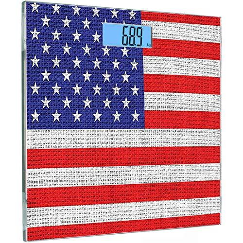 Ultra Slim Hochpräzise Sensoren Digitale Körperwaage Rustikal Amerikanische Flagge Set Gehärtetes Glas Personenwaage, 4. Juli Unabhängigkeitstag Sackleinen Suchen Retro Vintage Country Pa