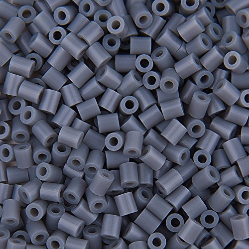 pandahall Elite - Lot de 3000pcs/ Boite 30 g Environ Melty Mini Perles Fusible Perles a Repasser, Tube, Gris, 3x2.5mm