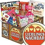 Lieblingsnachbar ✿ DDR Suessigkeiten-Box ✿ Geschenkset ✿ Lieblingsnachbar ✿ Ostpaket ✿ Geschenk Nachbarn ✿ mit Puffreis Schokolade, Viba, Zetti und mehr