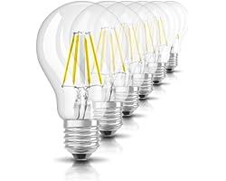 Osram Ampoule LED Filament, Forme Classique, Culot E27, 4W Equivalent 40W, 220-240V, claire, Blanc Chaud 2700K, Lot de 6 pièc