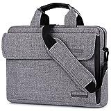 Maletín BRINCH para ordenadores portátiles maletín tejido Oxford bolso de hombro Unisex para ordenadores de 17 pulgadas Notebook/MacBook/Chromebook con tiras para llevarlo al hombro y bolsillos,Gris