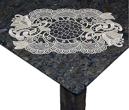 Tischdecke Plauener Spitze Creme Ätzspitze Spitzendeckchen Blüte (28x45 cm oval)