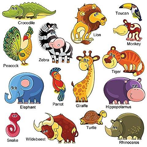 GET STICKING DÉCOR® Mignonne Jungle Safari Stickers Muraux/ Autocollants Collection, VectCartoonSafari SAFR.3, Vinyle Amovible Brillant, Multicolore. (Large)