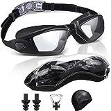SGODDE Gafas de Natación Antivaho, Protección UV Gafas para Nadar,Sin Fugas Ajustable Gafas de Buceo con Gorro de Natacion Su
