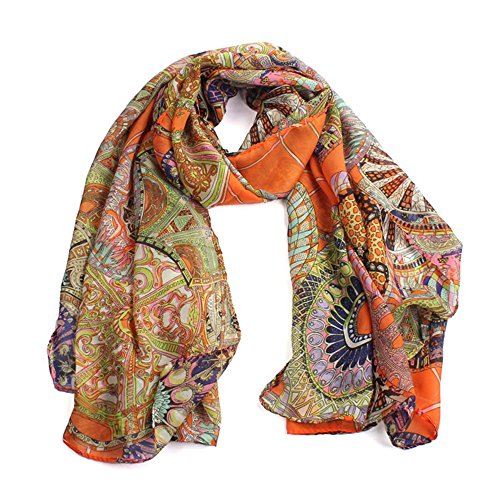 Schal DamenFashion lange Schal Chiffon Schal Flower Print Wrap Schals EUZeo (150X63CM, Orange-Rad) (Neue Rock Damen Anzug)