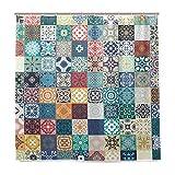 Wamika Badezimmer Dusche Vorhang Floral Patchwork Tile Design Haltbarer Stoff Bad Vorhänge Schimmelresistent Wasserdicht Badezimmer 12Haken 183,0cm x183,0cm