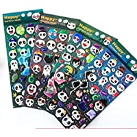 Gwill 4 Different Sheets Glow in Dark Halloween Dancing Skull Skeleton and Ghost Reusable Luminous Fluorescent Puffy Sticker