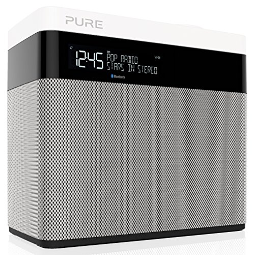 Pure POP Maxi BT Digitalradio (DAB/DAB+ Digital- und UKW-Radio mit Bluetooth, Pop-Taste zur Lautstärkenregelung, Weckfunktionen, Küchen- und Sleep-Timer, 20 Sendespeicherplätze), Weiß