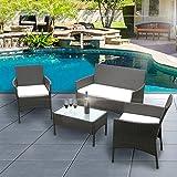 ANABELLE Ensemble Table en Verre + 3 Chaises en Rotin PVC Moderne -Imperméable à...