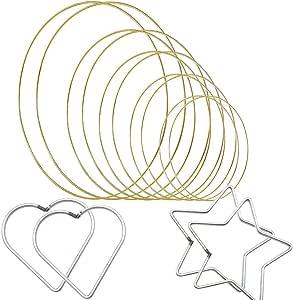 Zasiene Dream Catcher Hoops 14 pieces Metal Macrame Hoop Macrame Rings Metal Hoops for Crafting Wreath Ring Weldable Metal Ring for DIY Handcraft Deco 5//8//10//12//16cm