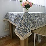 SHIQUNC Casual Dining Essentials Vintage blau und weiß Oblong Tischdecke chinesischen klassischen Baumwolle und Leinen 140 * 160cm, 60 * 60cm