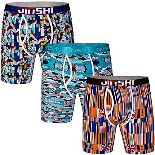 JINSHI Herren 3er Pack Bambusmaterial Underwear Komfortable Boxer Performance Trunks Geschnitten Unifarben Sportwear Size L -