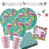 Unbekannt 65-teiliges Party-Set Flamingo Paradise - Teller, Becher Servietten Girlande, Einladungen, Party-Picker für 8 Personen