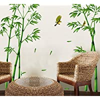 ufengke® Chinese Stytle Green Bamboo and Bird Wall Decals, Living Room Bedroom TV Wall Removable Wall Stickers Murals