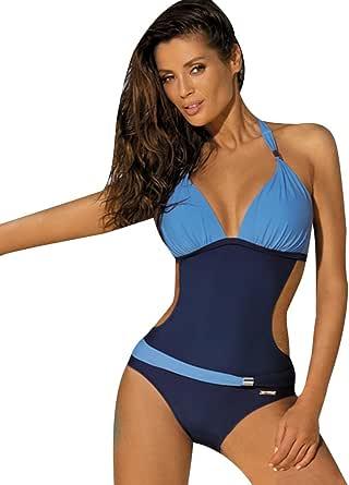 Rosa+schwarz LA ORCHID Laorchid Einteiler Schlankheits Badeanzug Damen Push up Verstellbarer Schultergurt badeanz/üge bauchweg v Ausschnitt M