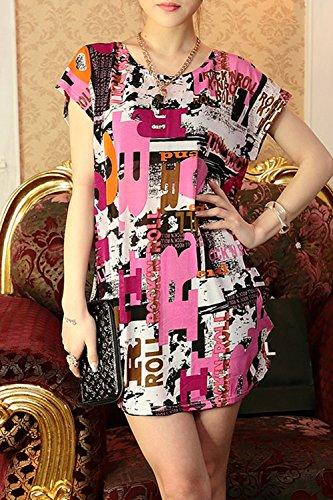 Lose Floral lässige T-Shirt Kleid für Damen 08