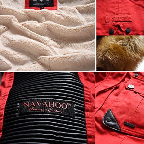 Navahoo Damen Winter Jacke Winterjacke Teddyfell warm gefüttert Kunstleder Einsätze B400 Rot