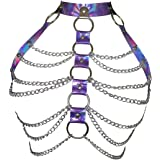 Women Harness Bra Leather Metal Chain Adjustable Cage Waist Belts Punk Body Chest Harness Gothic Straps Costume Clubwear