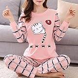 Conjunto de Pijamas para Mujeres Pijamas de Invierno para Mujeres Pijamas Finas de Dibujos Animados Pijamas Impresas Mujeres