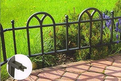 """5 Stück Gartenzaun Beetzaun """"Classic"""" 62x30cm Beetbegrenzung Kunstoff schwarz von Verdone - Du und dein Garten"""
