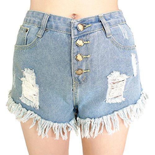 Dorekim Damen Low Taille Fringe Denim Shorts Jeans mit Taschen (S, 8033 # (blau)) (High Waist Shorts Für Mädchen)
