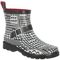 Capelli New York Ladies Houndstooth Printed Short Rain Boot White Combo 7