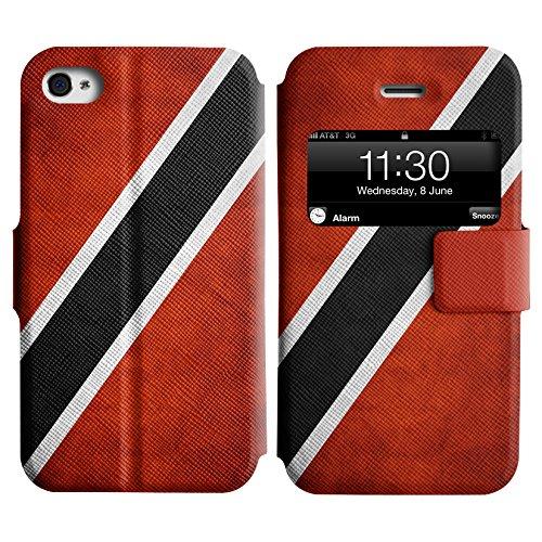 Graphic4You Vintage Uralt Flagge Von Bahamas Design Leder Schützende Display-Klappe Brieftasche Hülle Case Tasche Schutzhülle für Apple iPhone 4 und 4S Trinidad