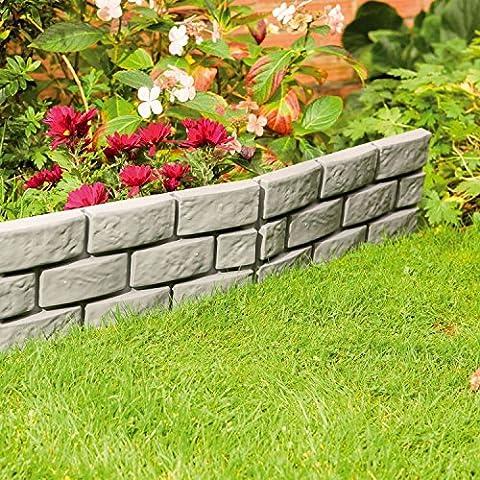 8x Grau Instant Brick Effekt Hammer in Garten Rasenkante Pflanze Bordüre (Brick Rasenkanten)