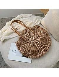 SANDIN archaistische handgefertigte Umhaengetasche aus Leder Runde Strandtasche des Maedchen Tasche aus ringartigem Rattan Kleine boehmische Umhaengetasche