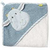 Fehn 065190 KFehn 065190 Kapuzenbadetuch Drache/Bade-Poncho aus Baumwolle mit Drachen Motiv für Babys und Kleinkinder ab 0+ Monaten/Maße: 80x80cm