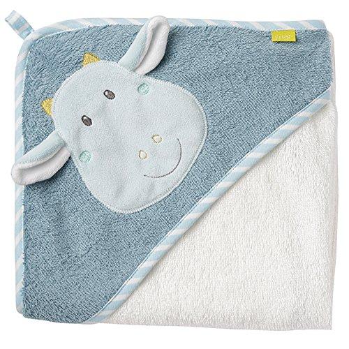 Fehn 065190 KFehn 065190 Kapuzenbadetuch Drache / Bade-Poncho aus Baumwolle mit Drachen Motiv für Babys und Kleinkinder ab 0+ Monaten / Maße: 80x80cm