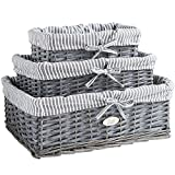 VonHaus Set of 3 Grey 100% Wicker Storage Baskets with Removable Striped Lining