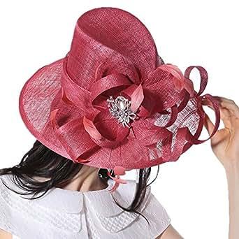 June's Young Femmes Elégant Vintage Chapeau en 3 Couches Chanvre Sinamay pour Mariage Vacances Eglise Rose Rouge