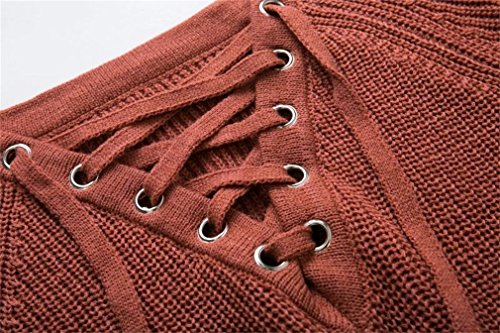 Honghu Femme Casual Loose Manches Longues Cou Rond Lang Pulls Basic Loisirs Sweater Rouge