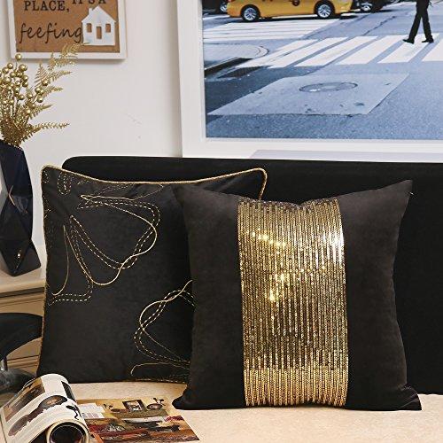 Valery Madelyn Luxuriös Gold Schwarz Weihnachten Kissenbezug Dekoration geometrische Samt Kissenhülle mit Block Pailletten und Stickerei Design (2er Set, 45x45cm)