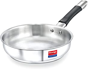 TTK Prestige Platina Induction Base Non-Stick Stainless Steel Fry Pan, 240mm, Silver