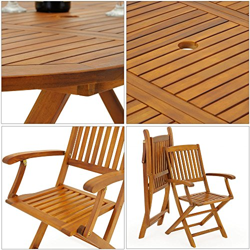 Deuba Wooden Dining Table and Chairs Folding Garden Patio Outdoor Furniture Set Boston FSC�-Certified Acacia Wood Oval 6 Seater 160x85 cm Conservatory Armrests High Back