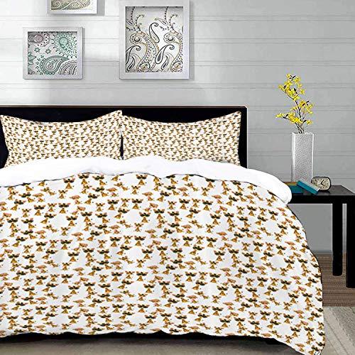 Yaoni Bettwäsche-Set, Mikrofaser,Giraffe, Baby African Safari Animal Romantische Figuren Jungen und Mädchen Maskottchen, Dunkelbraun und Weiß, 1 Bettbezug 220 x 240cm + 2 Kopfkissenbezug 80x80cm