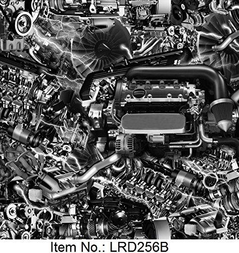 Wassertransferdruck Folie Motortechnik Zahnräder Mechanik 1 Meter x 50cm Breite Wassertransferdruckfilm LRD256B
