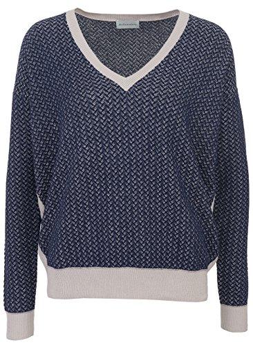 Delicatelove Damen Gemusterter V-Neck Pullover Navy Kitt, Größe XL