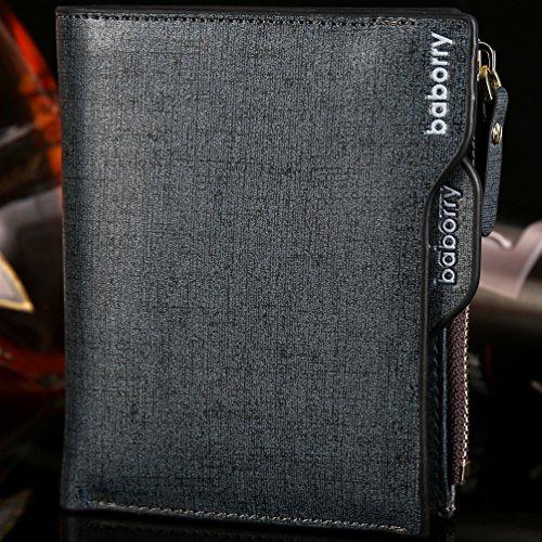 Baborry-Baborry Luxus Männer Brieftasche Mit Reißverschluss Münztasche Movable ID Karte Halter Gold Blau