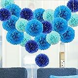21 Piezas Pompones de Papel de Seda Azul Cielo, Azul Claro, Azul Oscuro, Bola de Flor Papel...