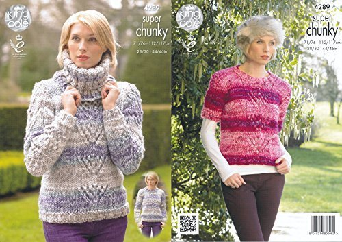 King Cole Ladies Big Value Super Chunky Tints Knitting Pattern Lace Effect Sweaters & Cowl (4289) by King Cole (Lace Cowl)