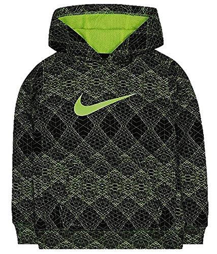 Nike Little Boys Black and Volt Therma-Fit Kapuzenpullover, Jungen, Schwarz/Volt, 7 - Nike Stretch Fleece