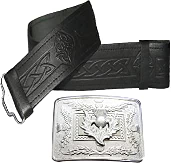 Leather Kilt Belt Embossed and Chrome Thistle Buckle