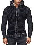 Herren Strickjacke Warme Kapuzenjacke Fell-Kapuze Winter-Jacke RS-18002 Schwarz XL