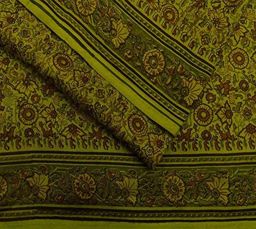 Vintage puro mestiere del tessuto di seta stampato floreale Saree indiano Deco Verde Sari 5YD Verde Oliva