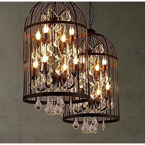 KHSKX Lampadario di gabbia d'epoca americana, lampadario di cristallo chiaro abbigliamento negozio sala da pranzo